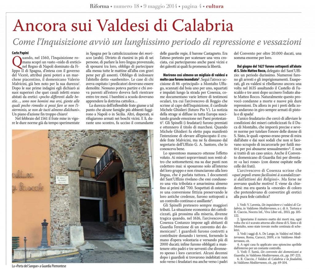 Ancora sui valdesi in Calabria